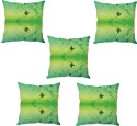 StyBuzz Green Butterfly Abstract Art Cushions Cover - Pack Of 5