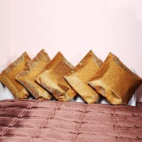 Rivayat Floral Cushions, Pillows Cover Pack Of 5, 42 Cm*42 Cm, Yellow