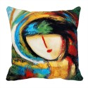 MeSleep Painted Face Digitally Printed Cushions Cover - Pack Of 1