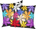 ZIKRAK EXIM Felt Flower Patch Black Cushions Cover - Pack Of 2