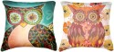 Belkado Digital Print - Combo Of Vintage Owl I Cushions Cover - Pack Of 2