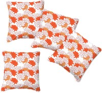 Smart Home Textile Floral Cushions Cover (Pack Of 4, 35 Cm*35 Cm, Orange, White)