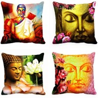 MeSleep Saint Digitally Printed Cushions Cover (Pack Of 4, 40.64 Cm*40.64 Cm, Multicolor)