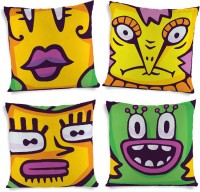 ShopMantra Cute Monster Face Doodle Printed Cushions Cover (4 Cushion Pillow Cover, 40.64 Cm*40.64 Cm)
