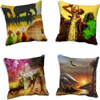 MeSleep Abstract Cushions Cover (Pack Of 4, 50.8 Cm*50.8 Cm, Multicolor)