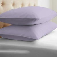 LNT Linen Solid Cushions, Pillows Cover (Pack Of 2, 43.2 Cm*69 Cm, Lavender)