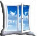 MeSleep Blue Window Cushions Cover - Pack Of 1