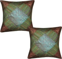 Lal Haveli Home Decor Beautiful Silk Sofa 16x16 Inches Abstract Cushions Cover (Pack Of 2, 41 Cm*41 Cm, Green)