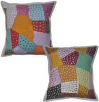 Lal Haveli Ethnic Patchwork Cotton 16x16 Inches Abstract Cushions Cover (Pack Of 2, 41 Cm*41 Cm, Multicolor)