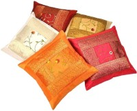 Home India Zari Hand Embroidery Work Self Design Cushions Cover (Pack Of 5)