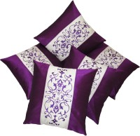 Zikrak Exim Embroidered Cushions Cover (Pack Of 5, 40 Cm*40 Cm, Purple, White)