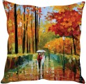 StyBuzz Walk In The Rain Red Cushions Cover - Pack Of 1