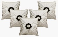 Dekor World Floral Bonanza Collection Floral Cushions Cover (Pack Of 5, 40*40, White)