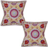 Lal Haveli Rajasthani Ethnic Sujani Work 16x16 Inches Embroidered Cushions Cover (Pack Of 2, 41 Cm*41 Cm, Beige)