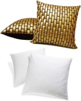 Zikrak Exim Embroidered Cushions Cover (Pack Of 4, 40 Cm*40 Cm, Gold)