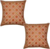 Lal Haveli Embroidered Cushions Cover (Pack Of 2, 41 Cm*41 Cm, Peach)