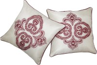 Zikrak Exim Embroidered Cushions Cover (Pack Of 2, 40 Cm*40 Cm, White)