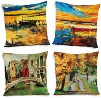 ShopMantra Paintings Printed Cushions Cover (4 Cushion Pillow Cover, 40.64 Cm*40.64 Cm)