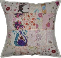 Lal Haveli Patchwork Khambadia Cotton 24x24 Inches Abstract Cushions Cover (Cushion Cover, 60.96 Cm*60.96 Cm)