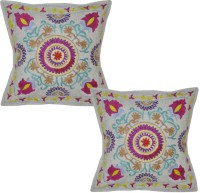 Lal Haveli Rajasthani Ethnic Sujani Work 16x16 Inches Embroidered Cushions Cover (Pack Of 2, 41 Cm*41 Cm, Grey)