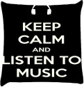 Snoogg Keep Calm And Listen To Music Throw Pillows 16 X 16 Inch Cushions Cover - Pack Of 1