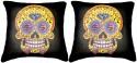 Belkado Digital Print - Pair Of Skull-III Cushions Cover - Pack Of 2