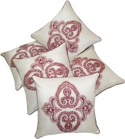 Zikrak Exim Embroidered Cushions Cover (Pack Of 5, 40 Cm*40 Cm, White)