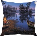StyBuzz Boat In The River Cushions Cover - Pack Of 1