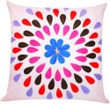 ZIKRAK EXIM Felt Leaves Patch Pink Cushions Cover - Pack Of 1