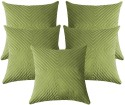 ZIKRAK EXIM Verticle Thread Design Green Cushions Cover - Pack Of 5