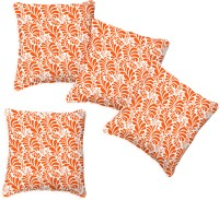 Smart Home Textile Floral Cushions Cover (Pack Of 4, 30 Cm*30 Cm, Orange, White)