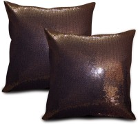 StyBuzz Embroidered Cushions Cover (Pack Of 2, 40.64 Cm*40.64 Cm, Brown)