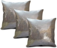 StyBuzz Embroidered Cushions Cover (Pack Of 3, 40.64 Cm*40.64 Cm, Silver)