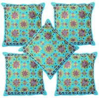 Pezzava Embroidered Bolsters Cover Pack Of 5, 40.64 Cm*40.64 Cm, Blue