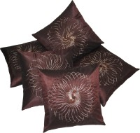 Zikrak Exim Embroidered Cushions Cover (Pack Of 5, 40 Cm*40 Cm, Brown) - CPCE8FBQYAJVHH4S