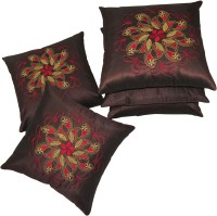 Zikrak Exim Embroidered Cushions Cover (Pack Of 5, 40 Cm*40 Cm, Brown)