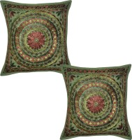 Lal Haveli Embroidered Cushions Cover (Pack Of 2, 41 Cm*41 Cm, Green)