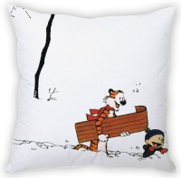 StyBuzz Calvin And Hobbs Going For Ride (12x12) Cushions Cover (Pack Of 1)