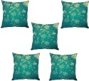 StyBuzz Green Leaf Print Cushions Cover - Pack Of 5