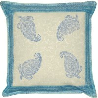 Lal Haveli Rajasthani Paisley Design Block 16x16 Inches Printed Cushions Cover (Pack Of 2, 41 Cm*41 Cm, Blue)