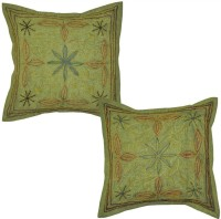 Lal Haveli Indian Handmadework Cotton 16x16 Inches Embroidered Cushions Cover (Pack Of 2, 41 Cm*41 Cm, Multicolor)