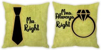 StyBuzz Mr. Right And Mrs. Always Right Green Couple Printed Cushions Cover (Pack Of 2, 40.7 Cm*40.7 Cm)