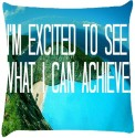 Snoogg Im Excited To See Throw Pillows 16 X 16 Inch Cushions Cover - Pack Of 1