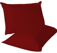 LNT Linen Striped Cushions, Pillows Cover (Pack Of 2, 43.2 Cm*69 Cm, Red)