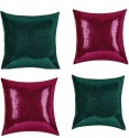 "SEJ By Nisha Gupta Rich Single Color Sequin 16"" By 16"" Cushion Cover. Cushions Cover - Pack Of 4 - CPCDYVZ5MJDFHK3G"