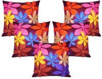 Car Vastra Felt Flower Patch Floral Cushions Cover (Pack Of 5, 40 Cm*40 Cm, Multicolor)
