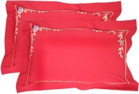 Milano Home Embroidered Pillows Cover Pack Of 2, 48 Cm*76 Cm, Red