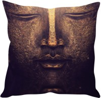 StyBuzz Golden Buddha Face Painting Printed Cushions Cover (40 Cm*40 Cm, Multicolor)