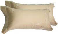 Milano Home Embroidered Pillows Cover Pack Of 2, 48 Cm*76 Cm, Gold