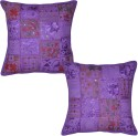Lal Haveli Handmade Patchwork Embroidered Cushions Cover - Pack Of 2